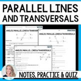 Parallel Lines Cut By A Transversal Notes and Practice