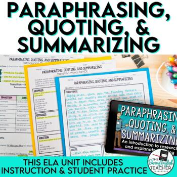 Paraphrasing, Quoting, and Summarizing: A Common Core Writing Mini Unit