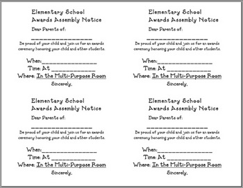 Parent Notification of Awards Assembly - slips (English &