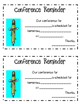 Parent Teacher Conference Reminder Note