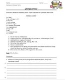 Parts of a Recipe Review Worksheet- Common Core