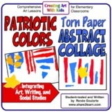Patriotic Colors Torn Paper Abstract Collage Art Lesson