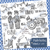 Patriotic Doodles - 4th of July - Military - USA - America