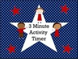 Patriotic Themed 3 Minute Activity Timer (USA, stars & str