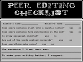 Peer Editing Checklist for Grades 1-4