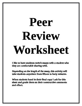 college application essay peer review sheet