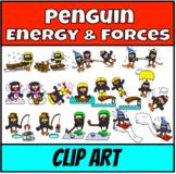 Penguins in Action Clip Art