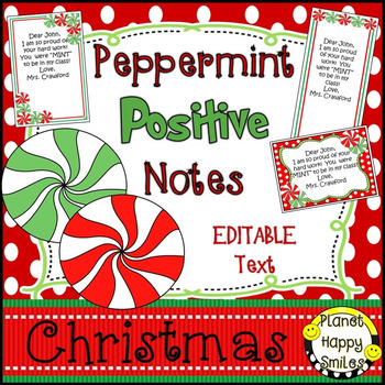 Christmas Activity ~ Peppermint Positive Notes ~ Editable
