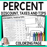 Percent Discount, Taxes and Tips Coloring Worksheet