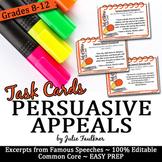 Persuasive/Rhetorical Appeals Speech Excerpts (Ethos Patho