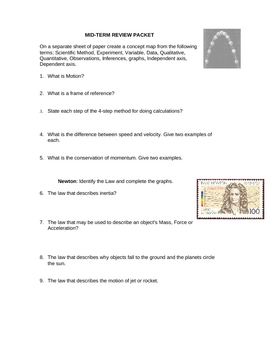 Physical Science Midterm Review Packet (Middle School)