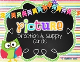 Picture Direction & Supply Cards {Bright/Chalkboard Theme}