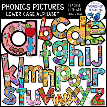 Phonics Filled Alphabet (lowercase) Clip Art - Whimsy Workshop Teaching
