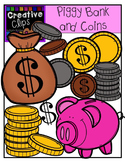 Piggy Bank and Coins {Creative Clips Digital Clipart}