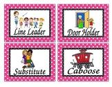 Pink Polka dot job chart titles *Editable!*
