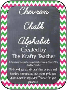 Room Decor Chalkboard Pink and Green Chevron Cursive Alphabet