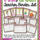 Editable Pink/Green Teacher Binder and Calendar