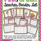 Editable Pink/Green Teacher Binder and Calendar