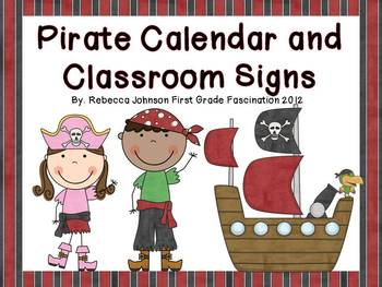Editable Pirate Calendar and Classroom Sign Super Pack