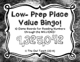 Place Value Bingo Game Boards and Directions- through Millions