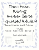 Place Value: Building Number Sense Expanded Notation