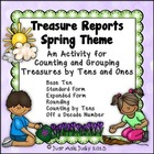 Spring Theme Place Value Tens and Ones- FREE Treasure Reports