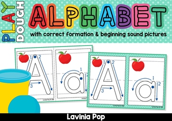 Alphabet Play Dough Mats - with Correct Letter Formation and Pictures