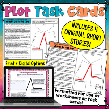 Plot Task Cards or Worksheets - Identify Plot Elements in Short Stories