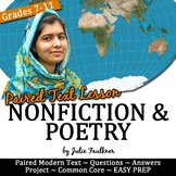 Poetry Nonfiction Close Reading Lesson Brave & Malala -New