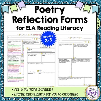 Poetry Reflection Form for Students & CCSS Reading Literac