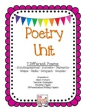 Poetry Unit with 7 different poems, class posters, writing paper