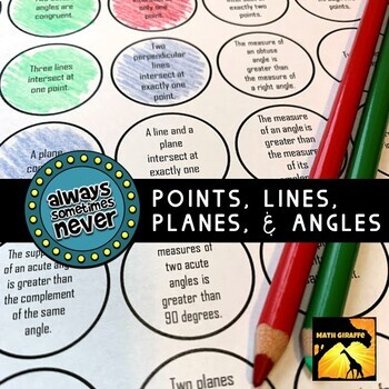 Points, Lines, Planes, and Angles: Always, Sometimes, or Never (FREE)