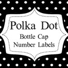 Polka Dot Bottle Cap Number Labels
