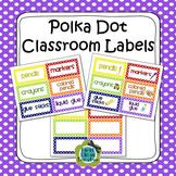 Polka Dot Classroom Labels - 3 editable sizes (PDF & PowerPoint)