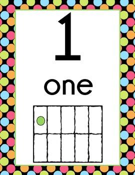 Polka Dot Number Display Signs (Black Background)