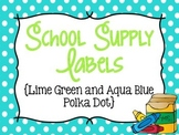 Polka Dot School Supply Labels for Everything! (Lime Green