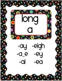 Colored Polka Dots on Black Phonics Signs