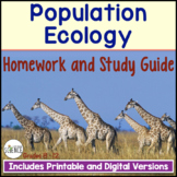 Population Ecology Homework and Study Guide