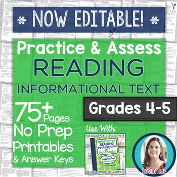 Practice & Assess READING INFORMATIONAL TEXT: Grades 4-5 NO PREP Printables