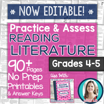 Practice & Assess READING LITERATURE: Grades 4-5 No Prep Printables