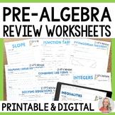 Pre Algebra Review Worksheets