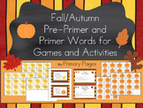 Fall/ Autumn Pre-Primer and Primer Words for Sight Word Ga