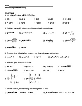 Precalculus (Midterm Review)