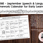 Preschool/Early Learning Speech-Language Homework Freebie