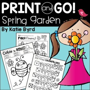 Print and Go! Spring Garden Math and Literacy (NO PREP)