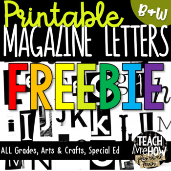 Printable Magazine Letters, Black & White, Alphabet a-z: W