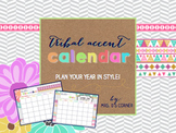 Printable Calendar { Tribal Herringbone }