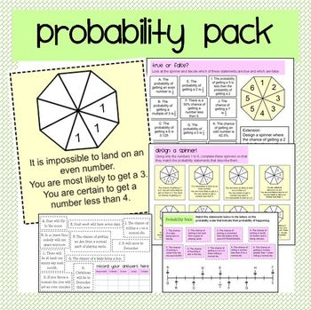 Probability Activity & Worksheet Pack