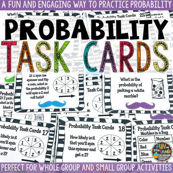 Probability Task Cards {STACHE THEMED}