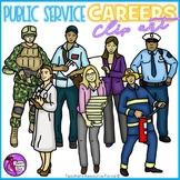 Public Service Careers Clip Art - color and black line